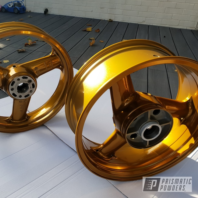 Powder Coating: Wheels,SUPER CHROME USS-4482,Bike,Brassy Gold PPS-6530,Motorcycles,Aluminum Rim