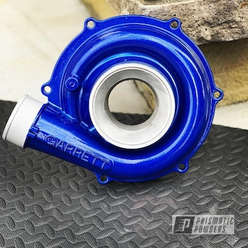 Blue Powder Coated Ford Powerstroke Turbo