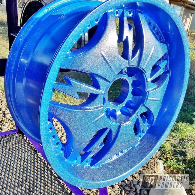 Powder Coating: Blue wheels,rockin rims,Colorado,Applied Plastic Coatings,Blue Madness PPB-4359,sparkle,Powder Coated Wheels