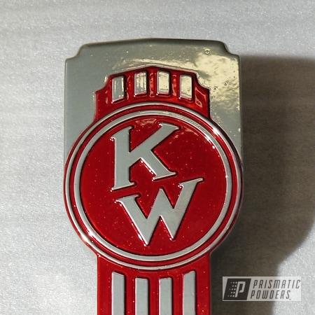 Powder Coating: Clear Vision PPS-2974,SUPER CHROME USS-4482,RED GOLD DUST UPB-5812,Kenworth Emblem,semi truck