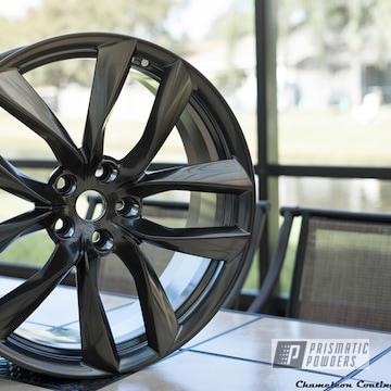 Black Chrome Powder Coated Tesla Wheels