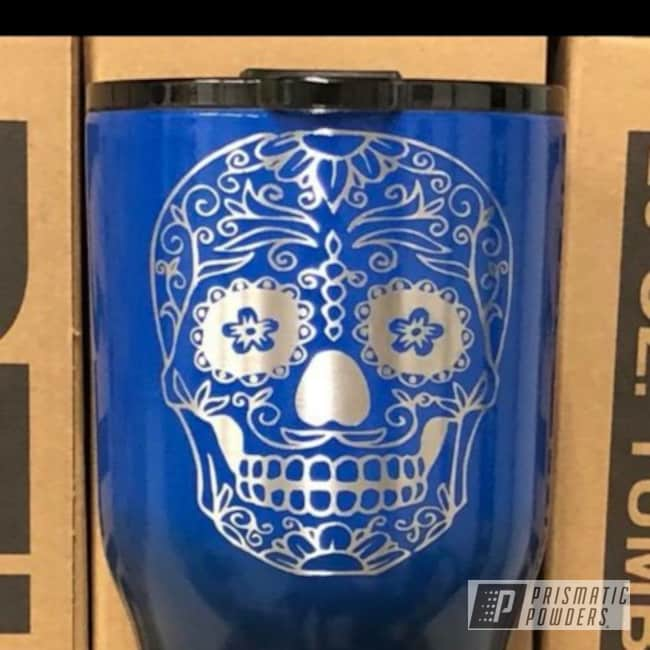 Powder Coated Tumbler In A Black And Blue Color Fade