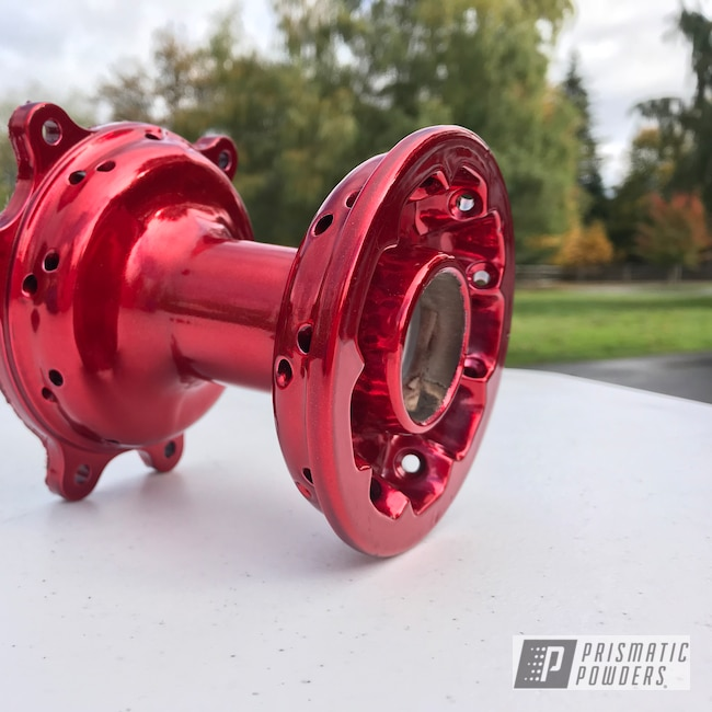 Powder Coating: DAZZLING RED UPB-1453,SUPER CHROME USS-4482,Dirtbike Hubs,Motorcycles,Dirt Bike