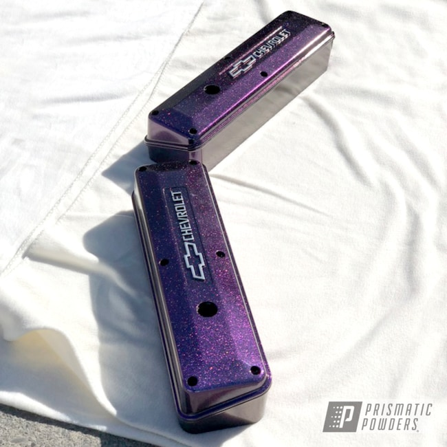 Powder Coating: Rocker Covers,Automotive,Clear Vision PPS-2974,Chameleon Violet PPB-5731,GLOSS BLACK USS-2603,Chevy