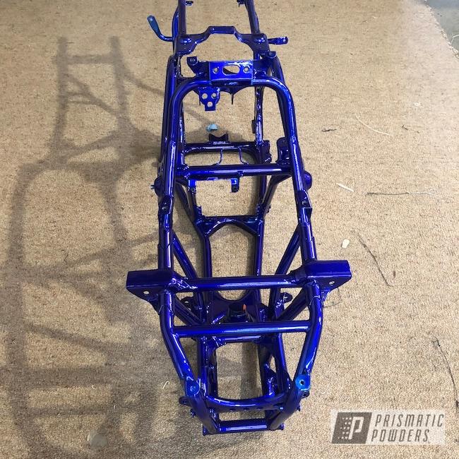 Powder Coating: Custom Quad,SUPER CHROME USS-4482,Quad Bike Frame,Intense Blue PPB-4474