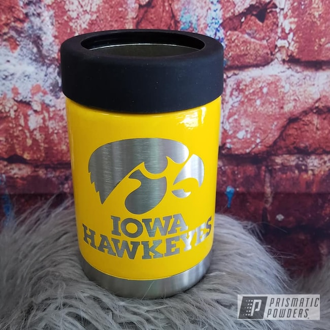 Powder Coating: Iowa Hawkeyes,Drinkware,RAL 1003 RAL-1003,Can Koozie