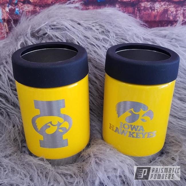 Powder Coating: Iowa Hawkeyes,Drinkware,RAL 1003 Signal Yellow,Can Koozie