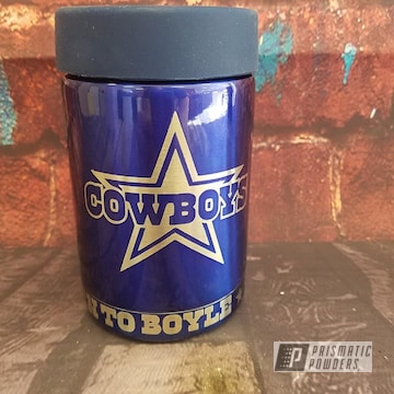 Blue Powder Coated Dallas Cowboy Themed Can Koozie