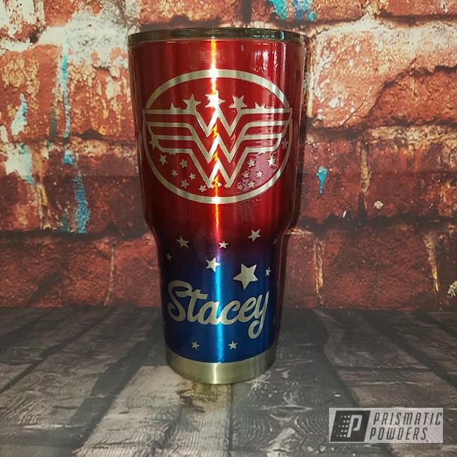 Powder Coating: Custom Cups,Drinkware,30 Oz Tumbler,Intense Blue PPB-4474,Apple Spice PPB-0949,Wonder Woman