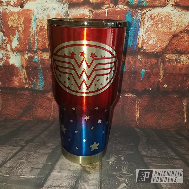 Powder Coated Wonder Woman Themed Tumbler Cup