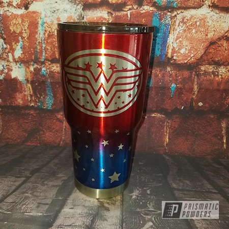 Powder Coating: Custom Cups,Drinkware,Intense Blue PPB-4474,Apple Spice PPB-0949,Wonder Woman