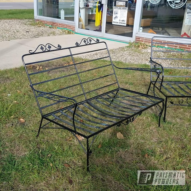 Powder Coating: Jr Rockstar Sparkle PPB-6624,Ink Black PSS-0106,2 Stage Application,Patio Funiture,Lawn Chairs