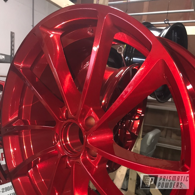 Powder Coating: Wheels,Automotive,SUPER CHROME USS-4482,LOLLYPOP RED UPS-1506,21Wheel