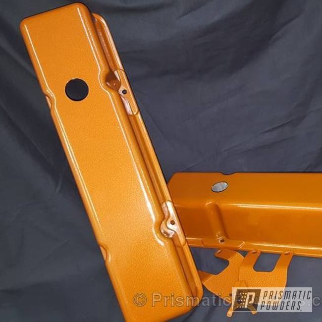 Powder Coating: Automotive,Striker Gold PPB-6361,Custom Powder Coating,Two Color Application,Valve Cover,Valve Covers and Brackets,Silver Artery PVS-3014