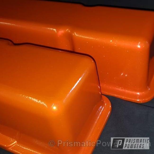 Powder Coating: Automotive,SUPER CHROME USS-4482,chrome,Valve Covers,Striker Gold PPB-6361,Two Color Application,Valve Cover,Powder Coated Automotive Parts