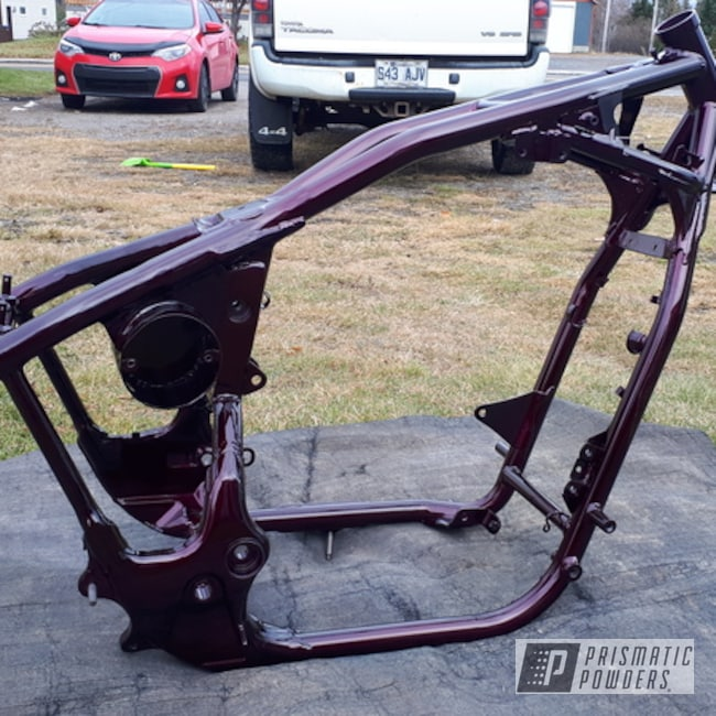 Powder Coating: Clear Vision PPS-2974,Illusion Malbec,Motorcycles,Frame,Custom Motorcycle Frame,Illusion Malbec PMB-6906