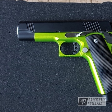 Powder Coated Green And Black Handgun