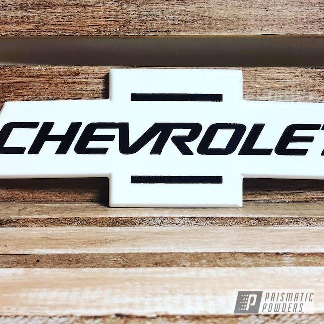 Powder Coating: Chevy Logo,Chevrolet,Ink Black PSS-0106,Polar White PSS-5053,Emblem,Chevy