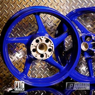Blue Powder Coated Yamaha Motorcycle Wheels
