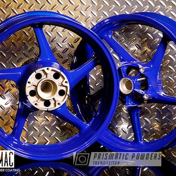 Blue Powder Coated Yamaha Motorcycle Wheels