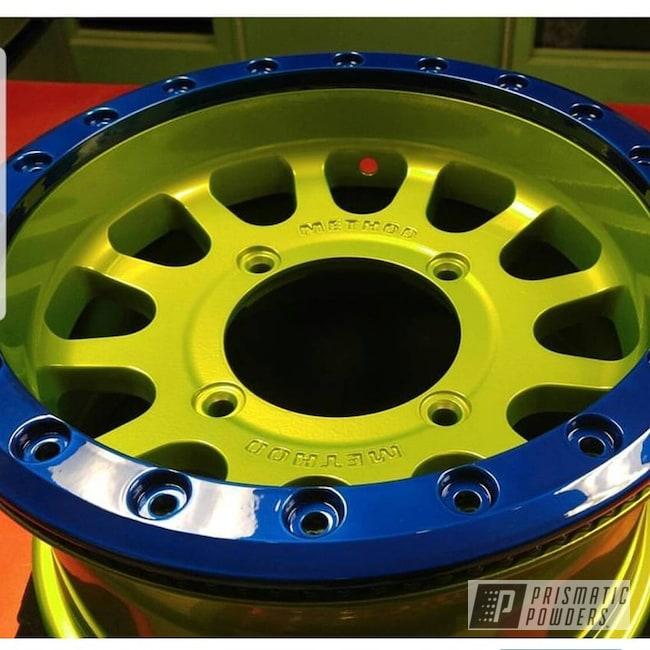 Powder Coating: Wheels,SUPER CHROME USS-4482,UTV,Peeka Blue PPS-4351,Polaris,RZR,Shocker Yellow PPS-4765