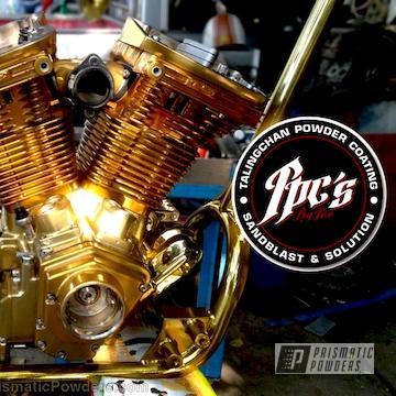 Harley Davidson Motor Coated In Transparent Gold