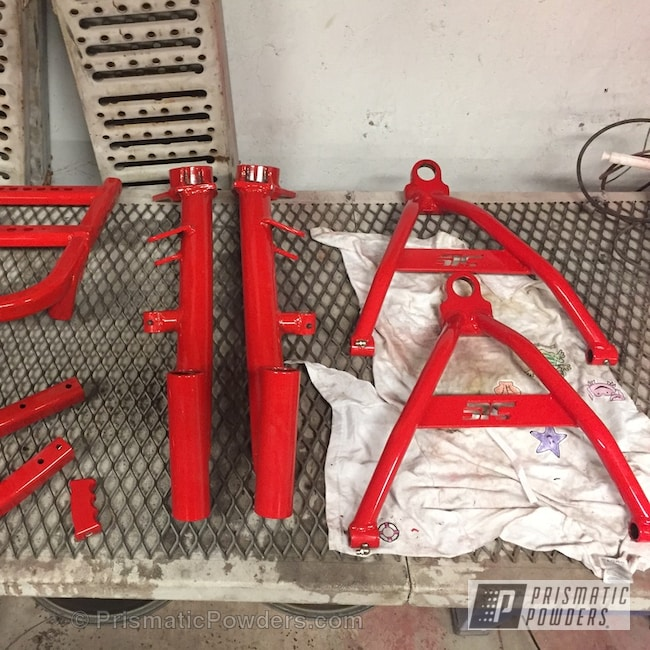 Powder Coating: Renegade Parts,Clear Vision PPS-2974,ATV,Flame Red PSS-5082,Trailing Arms,Shifter and Control Arms,Grab Bar,Two Coat Application,Powder Coated ATV Parts