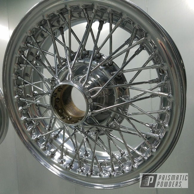 Powder Coating: Automotive,Spoked Wheels,Clear Vision PPS-2974,SUPER CHROME USS-4482,Austin Healey