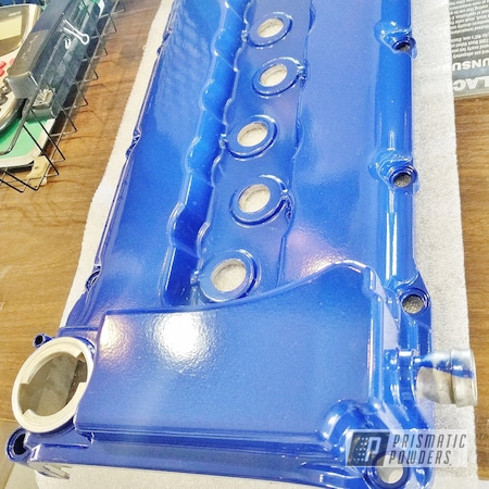 Powder Coating: Automotive,Clear Vision PPS-2974,Blue Valve cover,Applied Plastic Coatings,MOZ'S BLUE PMB-2642,Valve Cover
