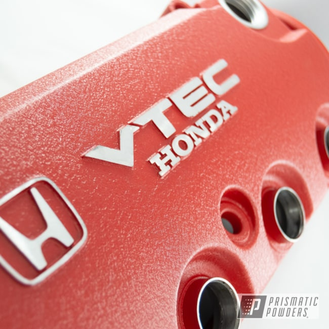 Red Powder Coated Honda Valve Cover