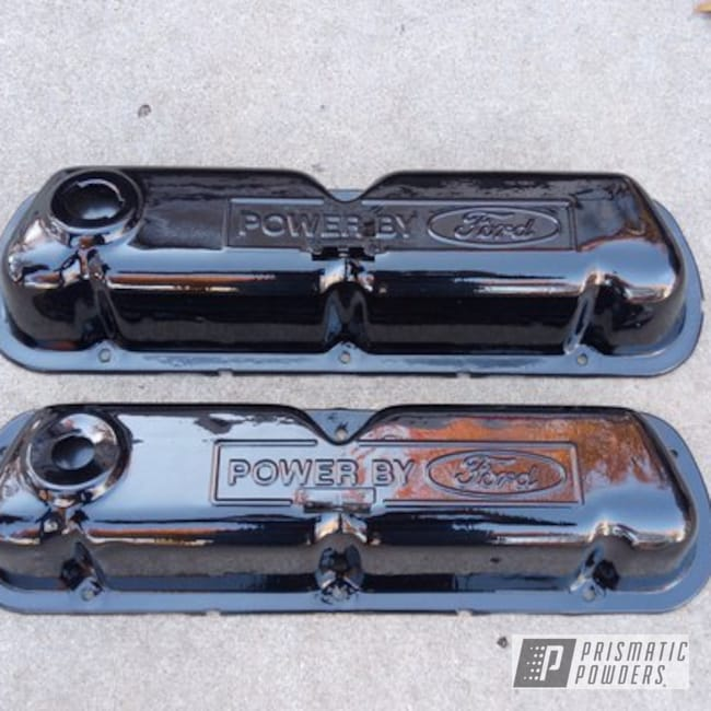 Powder Coating: Auto Parts,Automotive,Valve Covers,Ink Black PSS-0106,Ford