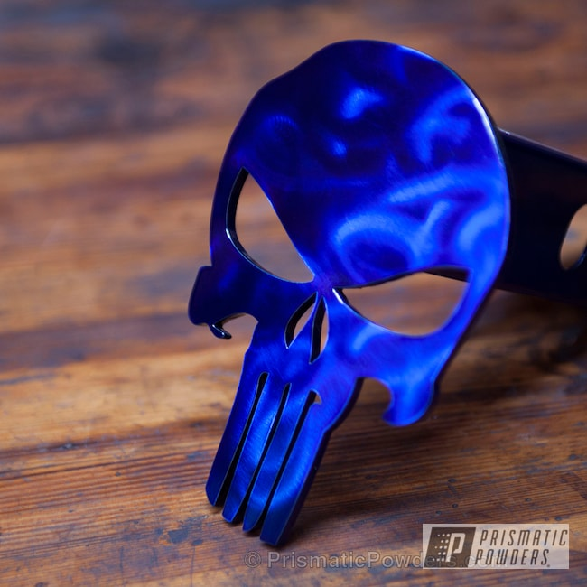 Powder Coating: Punisher Trailer Hitch Cover,Single Coat Application,Custom Powder Coating,Intense Blue PPB-4474,Miscellaneous,Punisher
