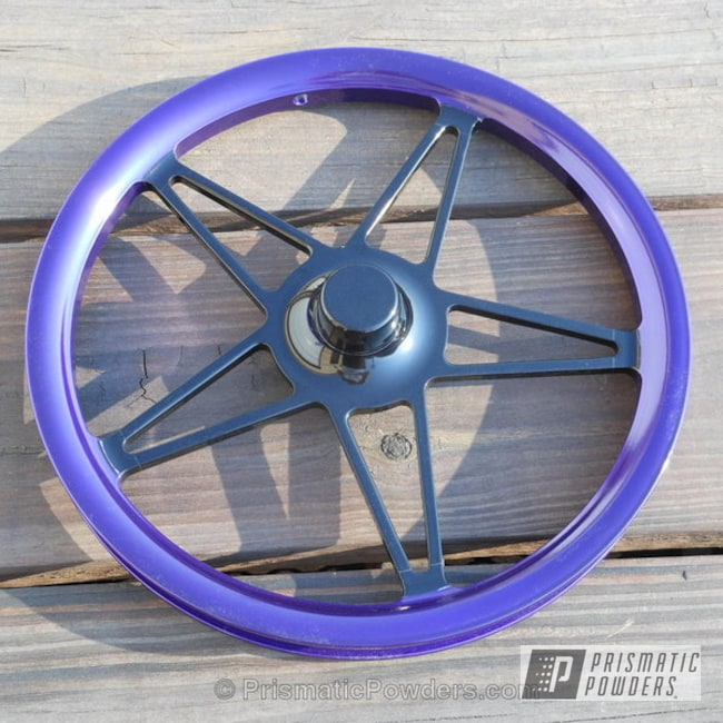 Powder Coating: Wheels,Automotive,Ink Black PSS-0106,Jr Dragster Rims,Custom Powder Coated Wheels,Two Tone,Lollypop Purple PPS-1505