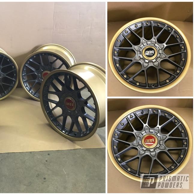 Powder Coating: Wheels,Automotive,2 Piece Wheels,Poly Gold PMB-4211,Jetta,ULTRA BLACK CHROME USS-5204,Refinish,BBS