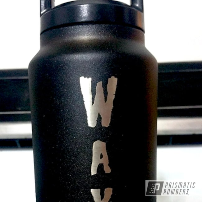 Custom Water Bottle Coated In Our Coal Powder Coat