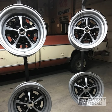 Black And Silver Powder Coated Ford Mustang Wheel Restoration