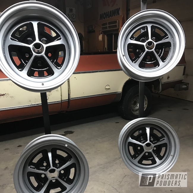 """Powder Coating: Wheels,BMW Silver PMB-6525,Matte Black PSS-4455,Automotive,Ford Mustang,14"""",Ford"""
