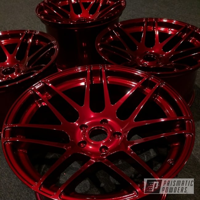 Powder Coating: Wheels,Automotive,SUPER CHROME USS-4482,chrome,Powder Coated Wheels,Two Coat Application,Wizard Red PPS-4690