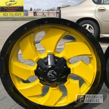 Powder Coated Black And Yellow Wheels