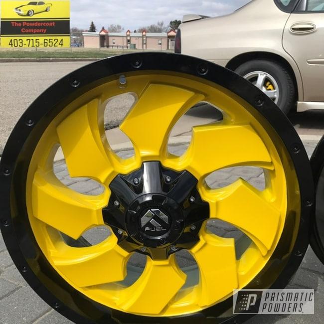 """Powder Coating: Wheels,Matte Black PSS-4455,Automotive,20"""",Hot Yellow PSS-1623"""