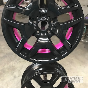 Powder Coated Pink And Black Wheels