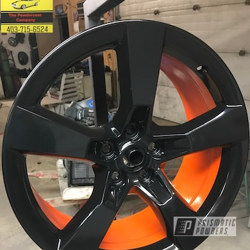 Orange And Black Powder Coated Camaro Wheels